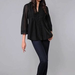 Joie black cotton bell sleeve button detail top